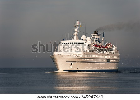 LITHUANIA- JUNE 11:cruise liner in the Baltic sea June 11,2012 in Lithuania.  - stock photo
