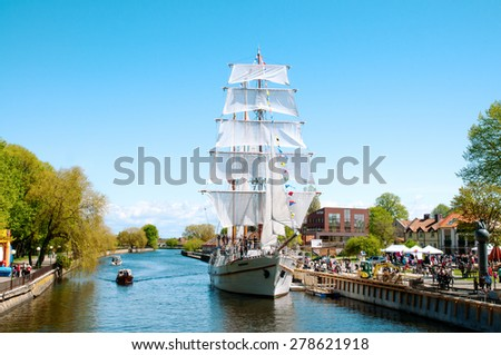 Lithuania, Klaipeda, May 16 2015. Sailing vessel the Meridian with open sails is in the city of Klaipeda, day of the ships in Klaipeda - stock photo