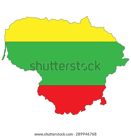 Lithuania map painted in the colors of the national flag - stock photo