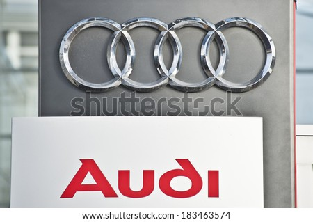 LITHUANIA - MARCH 21:AUDI logo on March 21, 2014 in Lithuania.Audi receives the Best Employer 2014 Award in Germany in January 2014.