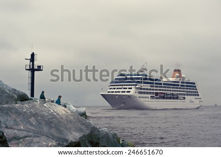 LITHUANIA- MAY 28:cruise liner by pier on May 28,2012 in Lithuania.MV Adonia is a cruise ship of the P&O Cruises fleet.  - stock photo