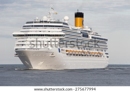 LITHUANIA- MAY 30:cruise liner COSTA PACIFICA in the Baltic sea on May 30,2012 in Lithuania. - stock photo