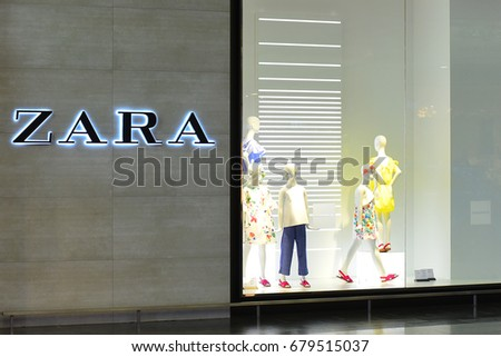 LITHUANIA-MAY 18: ZARA fashion store on May 18,2017 in Lithuania.Zara is a Spanish clothing and accessories retailer based in Arteixo, Galicia.
