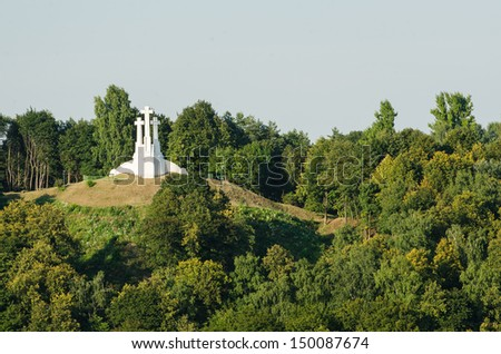 Lithuania. Monument of Three Crosses in Vilnius. A symbol of the city.