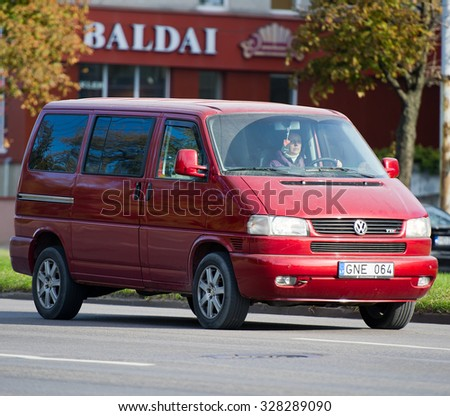 LITHUANIA - OCT 12: VW Transporter T4 on Oct. 12, 2015 in Lithuania. The Volkswagen Transporter (T4) is a van produced by the German manufacturer Volkswagen Commercial Vehicles. - stock photo