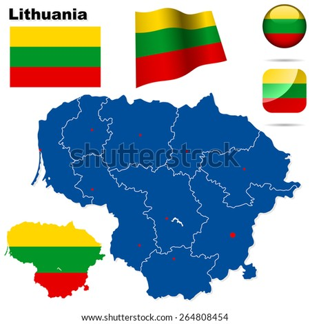 Lithuania set. Detailed country shape with region borders, flags and icons isolated on white background. - stock photo
