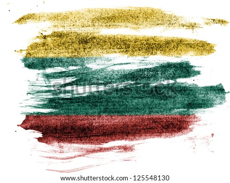 Lithuania. The Lithuanian flag painted on paper with colored charcoals