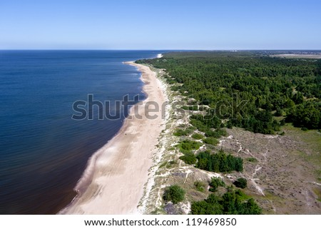 Lithuanian Baltic seaside from above - stock photo