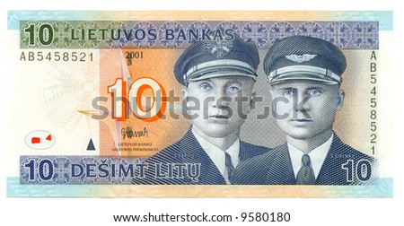 Lithuanian banknote at 2 litas, 2001; close-up