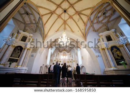 Lithuanian church interior - stock photo