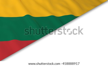 Lithuanian Flag corner overlaid on White background - 3D Illustration