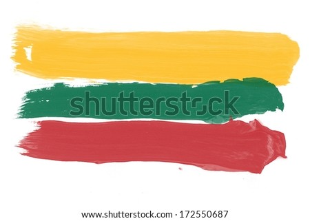 Lithuanian flag made out of brushstrokes and splatters