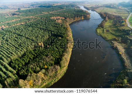Lithuanian landscape from above at autumn, river Neris - stock photo