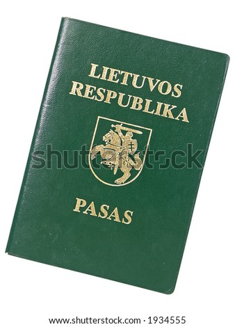 Lithuanian old style passport, includes clipping path - stock photo