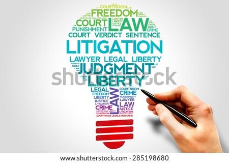 Litigation bulb word cloud concept - stock photo