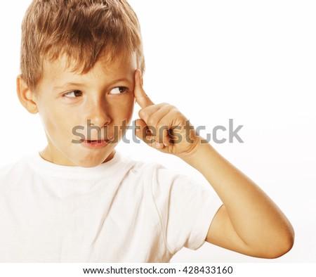 litlle cute blond boy tired sad isolated on white close up thinking, looking like having idea - stock photo
