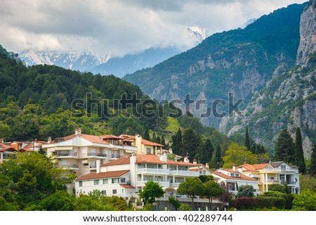 Litochoro and Olymp  - stock photo