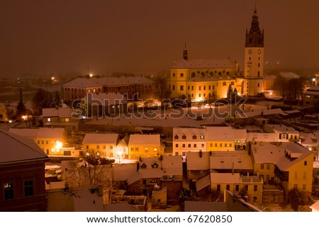 Litomerice during the winter nighttime, Czech Republic. - stock photo