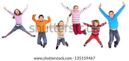 litte kids jumping isolated in white