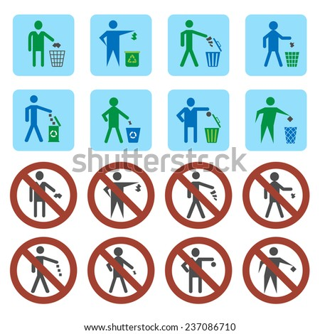 Litter throwing forbidden and allow signs icons set isolated  illustration - stock photo
