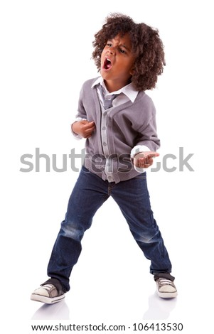 Little african american boy playing air guitar, isolated on white background - stock photo