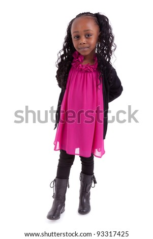 Little african american girl smiling, isolated on white background - stock photo