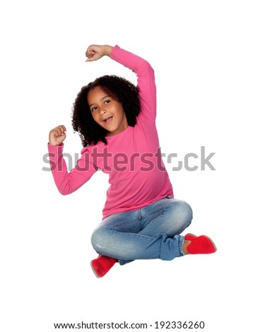 Little african girl celebrating something isolated on a white background - stock photo