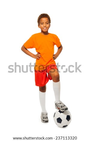 Little African soccer player boy isolated - stock photo