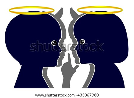 Little Angels Little Devils. In every kid there is good and evil. - stock photo
