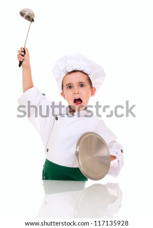 Little angry boy cook threaten with kitchen utensil isolated on white - stock photo