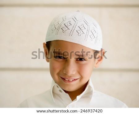 Little Arabian school kid - stock photo