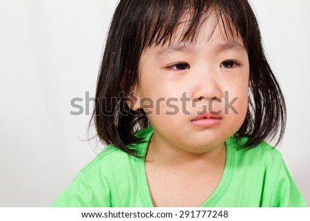 Little Asain Chinese Crying in white background - stock photo