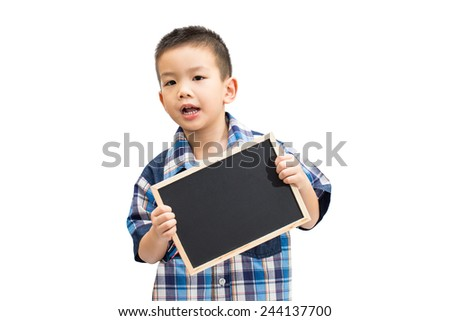 Little asian boy holding a blank blackboard isolated on white background - stock photo