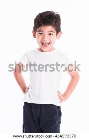 little asian boy on white background