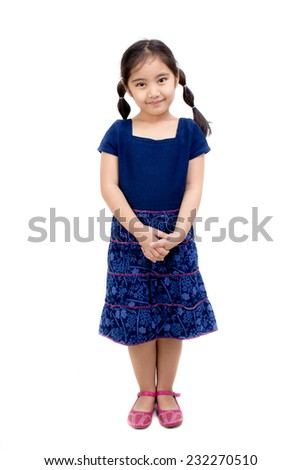 Little Asian child in Thai traditional dress - stock photo