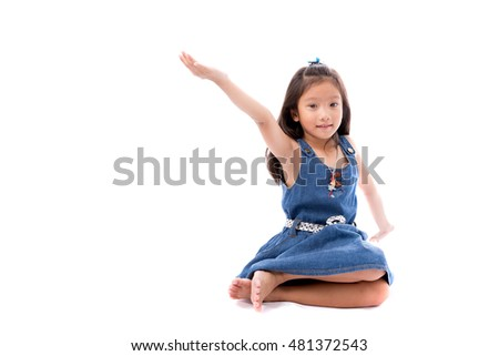 Little asian cute girl posing stretch hand up isolate on white background