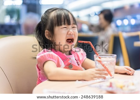 little asian girl crying - stock photo