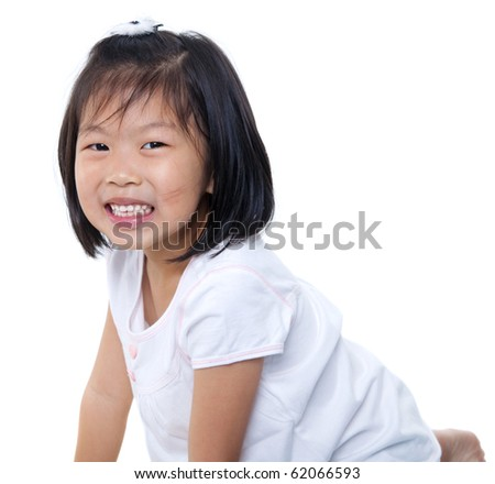 Little Asian girl isolated on white background - stock photo