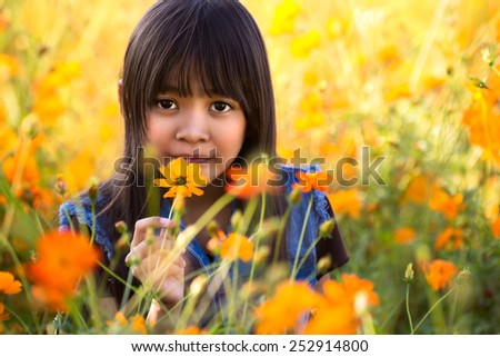 Little asian girl on the flower field - stock photo