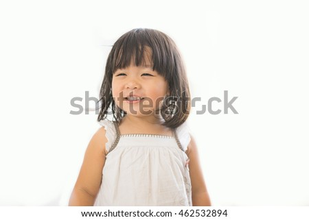 Little asian girl smile on white background.No problem concept.