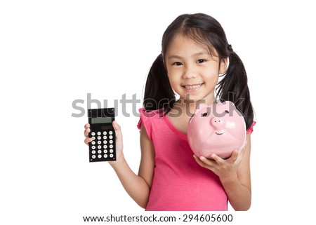 Little asian girl  with a calculator and piggy bank  isolated on white background - stock photo