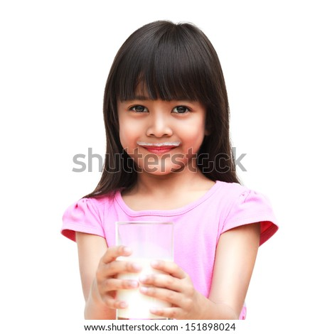 Little asian girl with a milk mustache, Isoated over white - stock photo