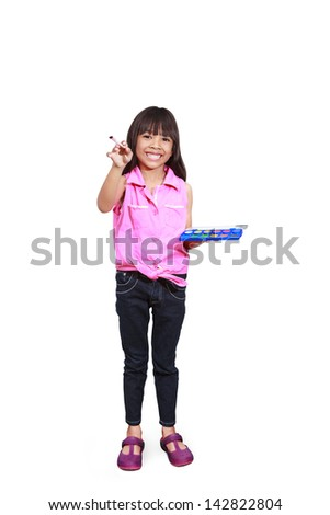 Little asian girl with a paintbrush, Isolated-on white with clipping path - stock photo