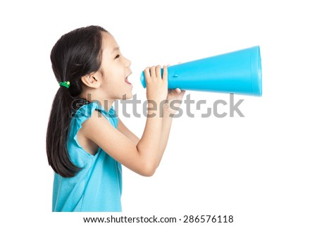 Little asian girl with megaphone  isolated on white background
