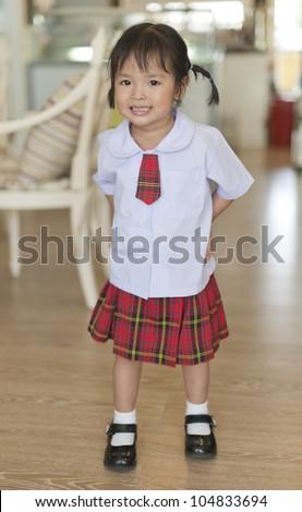 Little asian schoolgirl - stock photo