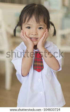Little asian schoolgirl - stock photo