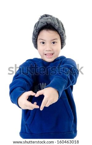 Little  asian smile  boy wearing winter clothes,isolated on white background
