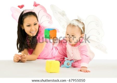 little baby and  mum,  play with bricks, on white background, isolated