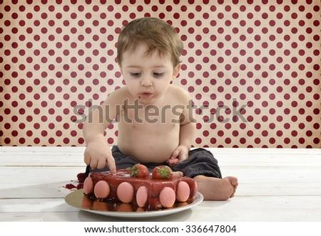 Little baby boy celebrating his birthday - stock photo