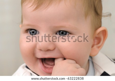 Little baby boy close up - a series of BABY images. - stock photo
